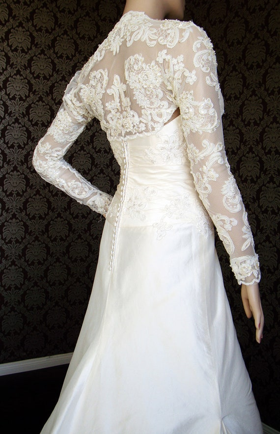 Couture Vintage Style Long Sleeve Beaded Lace Bridal Bolero Fancy ...