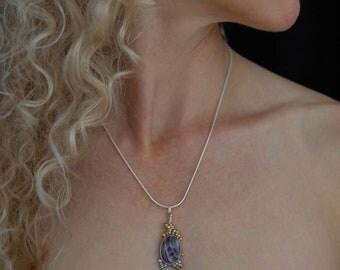Metalwork Pendant Luxury Jewelry Gold Necklace Handmade Art Jewelry Metalwork Jewelry Purple Agate Necklace