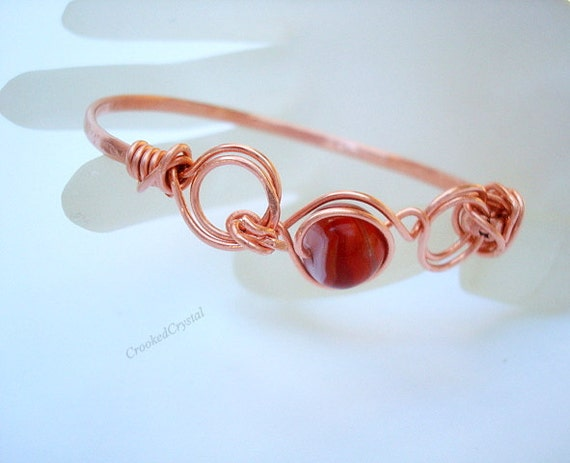 Bracelet - Copper and Carnelian Bangle - Simple Rounds - Free Shipping in the USA