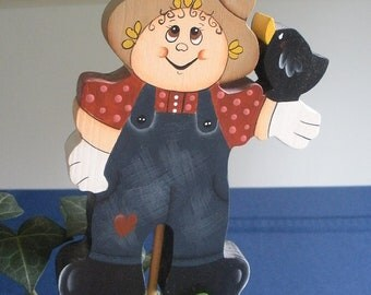 Wooden Scarecrow With Crow Plant Stick Fall Decoration