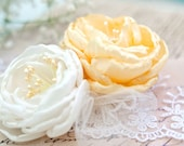 OOAK Ivory and Yellow Bridal Hair Accessory, Wedding Hairpiece, Brdal Hair Flower, Bridal Headpiece, Flower Clip, Wedding Hair Flower, Tulle