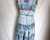 Vintage 1950s Floral Day Dress Full Skirt Printed Lace