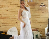 New Arrivals Majan Custom Made Backless Lace Wedding Dress Tulle Skirt Sweetheart  A-line Crossed Straps
