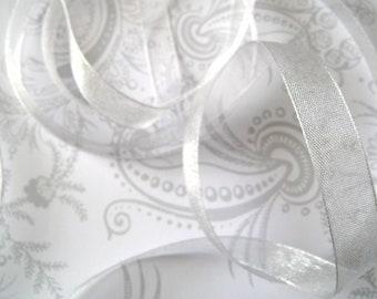 Silver Gray Organza Ribbon 3/8 -- 4 yards -- Grey -- 9.5mm