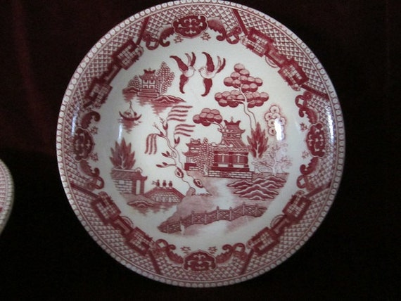 Vintage Bowl  Red and White  Willow Love Birds Chic French Country Cottage Chic