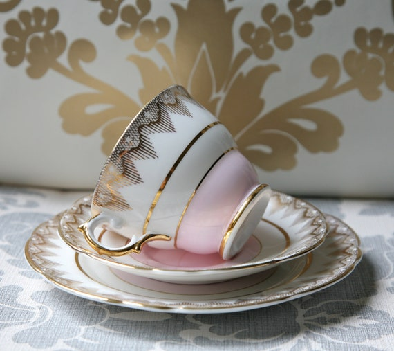 RESERVED Fabulous Vintage English Teacup, Saucer And Cake Plate, 22 Kt Gold