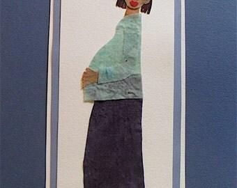 Batik Fabric Collage Custom Made Art Waiting Baby Shower Gift