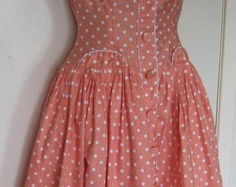 Stunning Rare 1950s Rockabilly Dress in Salmon Pink polka dot Cotton - size: UK 8/10 EU 36/38 US 6/8