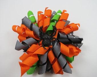 Halloween Hair Bow - Spider Hair Bow - Orange Green Gray Black Korker Hair Clip - Halloween Spider Hair Bow - Halloween Korker Hair Clip