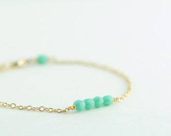 Beaded Bracelet in Mint Turquoise. Layering Bracelet. Stackable Bracelet. Friendship Bracelet. Simple. Minimal. Everyday Jewelry