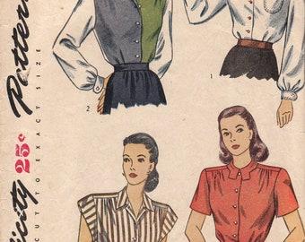 1940s Versatile Blouse Pattern Simplicity 1538 Size 12