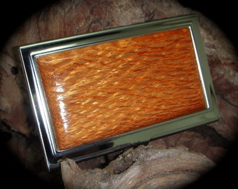 Exotic Lacewood Card Case for men - FREE Engraving