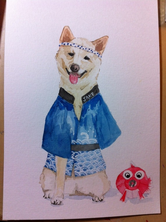 CUSTOM PET PORTRAIT - original watercolor painting of your pet, not a print - Shiba Inu, Corgi, Maltese, Dog Watercolor Hipster, Bulldog