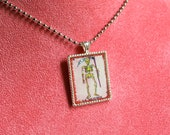 Mexican Loteria Pendant Necklace-  La Muerte / Death - Mexican Kitsch