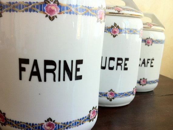 pots de porcelaine fran ais vintage set de 3 par mabellemaison. Black Bedroom Furniture Sets. Home Design Ideas