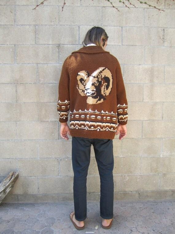 vintage cardigan/ novelty sweater / 1970s ram shawl collar cardigan unisex L - XL