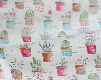 Cotton Linen Fabric for craft, Plant Pattern, Colorful fabric, flower, 1/2 yard (C332)