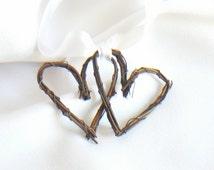 Fall Wedding Decor, Twig Heart Tags, Rustic Decorations, 6pcs
