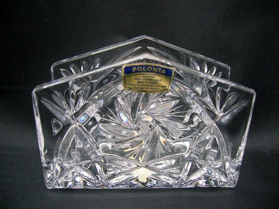lead crystal napkin holder clear glass letter holder made in