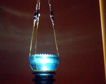 1930's Hemingray 42 Insulator Hanging Macrame Tea Light, Vintage, Home & Garden Decor,