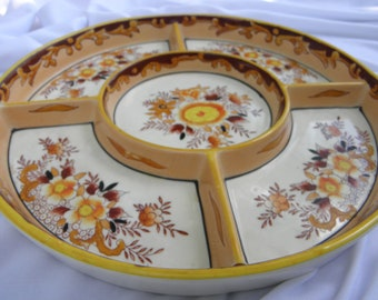 Noritake C.40's Porcelain 5 Compartment Divided Serving Dish, Relish Tray, Nut Dish