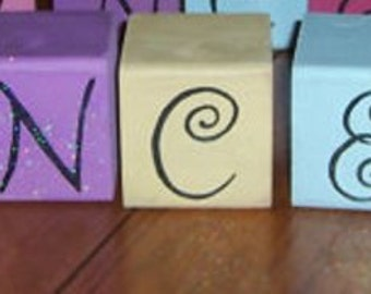 lettered wooden blocks personalized PRINCESS  or saying of your choice handpainted , glittered and distressed