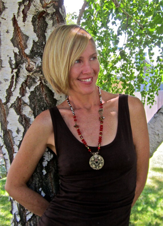 Red Crystal & Pearl Necklace- Bronze Filigree Pendant