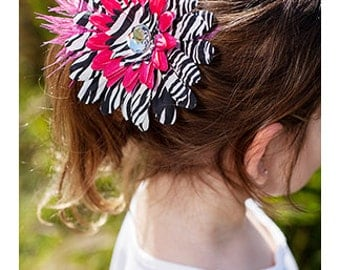 Zebra  Daisy Flower Clip with Rhinestone Feathers - Hot Pink - CLEARANCE