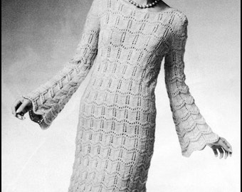 "No.229 PDF Vintage Knitting Pattern For Women - Scalloped Lace Dress - Retro Knitting Pattern - Instant Download - Bust Sizes 33"", 36"", 39"""