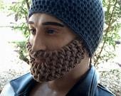 Charcoal Grey Beard Beanie w/ Detachable Beard (choose your beard color)