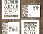 Damask Brown flower Wedding Invitation RSVP Thank you card Save the date DIY Printable - Customized