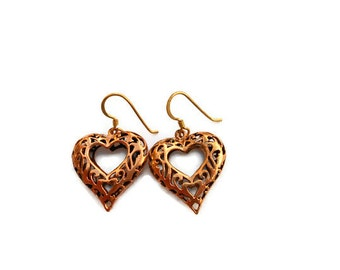 1980's Bronze Filigree Heart Earrings