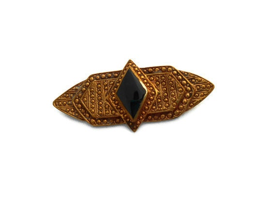 1980's Art Deco Bronze Stone Brooch