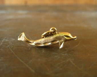 CLEARANCE SALE 14k gold dolphin pendant, 585 solid gold, 14k dolphin charm, small gold dolphin, jumping dolphin, bracelet charm, necklace