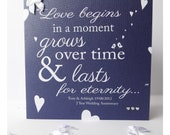 Love begins in a moment - Hand Made and Personalised Card.