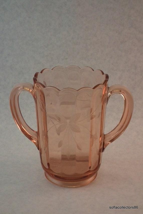 Pink Depression Glass Paneled Two Handled Gray Cut Vase