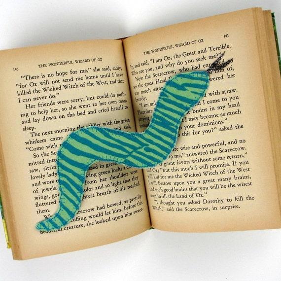 Childrens Bookmark, Snake, Blue Modern Bookmark