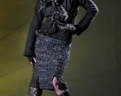 Women's Jacket in Wool Flannel.with leather fur and feathers-Erin-J-247BFU, , Sculptural Wired ,  Design Yourself Versatile Looks