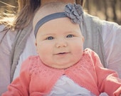 Charcoal felt puff flower on charcoal gray elastic headband - Baby Headband - Infant Headband