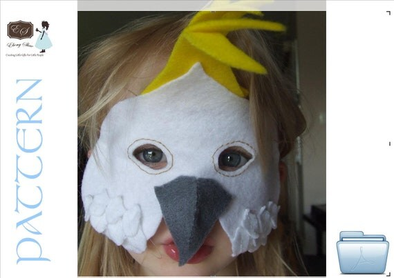 Kids Cocky Mask PATTERN.  Instant Download Sewing Pattern.