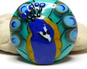 Peacock v2 - teal turquoise ochre tail feather lapis lampwork art glass - GBUK SRA