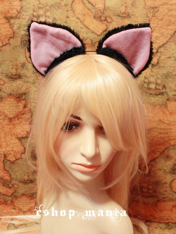 BLACK / White  inner pink 5.8 cm Cat Ear Kitty ear Headband girl or Adult Cosplay Costumes X'mas Party - On Sale 40% off