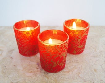 "Red Wedding Candle Holders, 3, Lighting, ""Vintage Inspired"" Gold, Votive, by Green Orchid Design Studio"