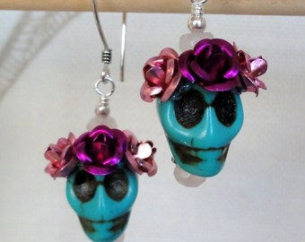 Dia de los Muertos Earrings - Turquoise Skull w/ Pink Flowers