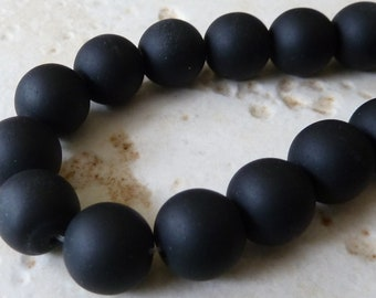 10mm Black Matte Sea Glass Round Beads - 8 Inch Strand - Opaque Frosted Beach Glass - BE33