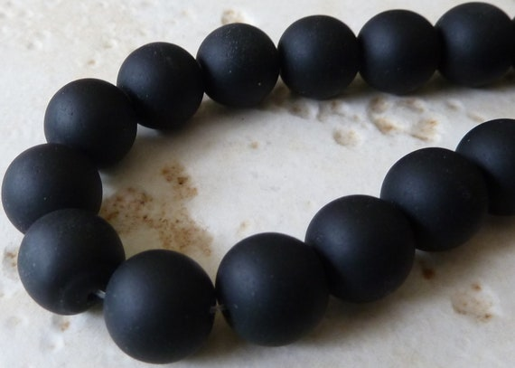 10mm Black Matte Sea Glass Round Beads - 8 Inch Strand - Opaque Frosted Beach Glass - BE33-BE35