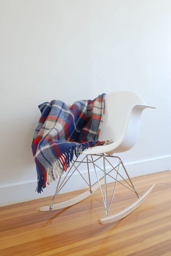 Lovely Vintage Wool Throw Blanket - Plaid Navy, Red, Green, and Cream Afghan