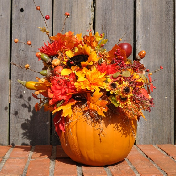 Pumpkin floral arrangement Flower painted pumpkins