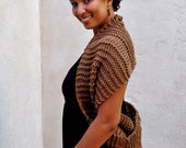 Oversized Knit Cowl, Chunky Cowl, Hand Knit Brown Circle Scarf - Caheez