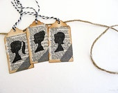Silhouette // Vintage Dictionary // Washi Tape // Mixed Media // Vintage Inspired // Gift Tags // Set of 3